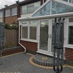 Conservatory, block paving, fence & garden wall in Bulkington